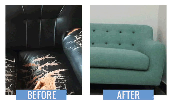 Upholstery sofa Before after